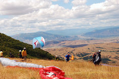 Preparation for enjoyment. Paragliding in Macedonia Stock Image