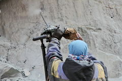 Preparation for explosive works on construction of Srinagar – Leh road Royalty Free Stock Images