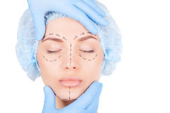 Preparation for facial surgery. Royalty Free Stock Photo