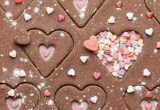 Preparation festive gingerbread heart shaped, close up Stock Images