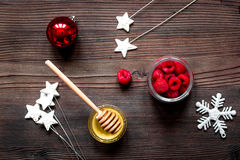 Preparation of festive treats top view on wooden background. Preparation of festive treats top view on dark wooden background Royalty Free Stock Photos