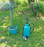 Preparation and filling of a garden sprayer with a herbicide for. Spraying fruit trees from harmful insects. Sunny June day Stock Photos