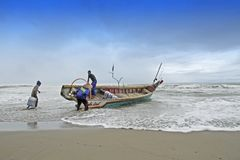 Preparation of fishermen stock images