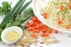 Preparation of the food. Vegetables and meal articles for the preparation of the tasty food Stock Images