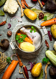 Preparation of fragrant chicken soup with fresh vegetables. On the stone table Stock Photography