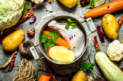 Preparation of fragrant chicken soup with fresh vegetables Royalty Free Stock Images