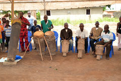 PREPARATION BEFORE THE FRANCOPHONE GAMES IN IVORY COAST. African traditional art group preparing through the sound of djembe drums open publishing games of the Royalty Free Stock Photography