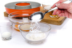 Preparation of a French ring cake, named savarin Stock Photography