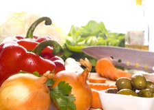 Preparation of fresh vegetables Royalty Free Stock Images