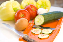 Preparation of fresh vegetables Stock Photography