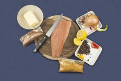 Preparation of frozen salmon, home cooking Royalty Free Stock Photography