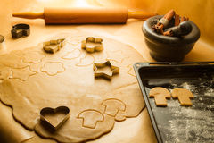Preparation of gingerbread Christmas cookies Royalty Free Stock Photos