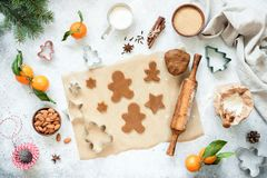 Preparation of gingerbread cookies royalty free stock photo