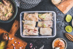 Preparation of Healthy Lunch box with summer rolls of tuna fish, avocado and ingredients Royalty Free Stock Photography