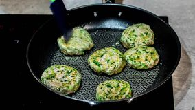 Preparation of healthy, turkey meat cutlets - time lapse video. stock footage