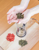 Preparation of herbal tea. Teapot, green tea, goji on the table Royalty Free Stock Images