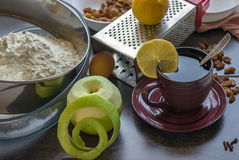 Preparation of homemade apple pie. royalty free stock images