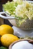 Preparation of homemade elderflower cordial Royalty Free Stock Images