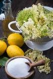 Preparation of homemade elderflower cordial Royalty Free Stock Photo