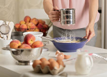 Lovely Preparation Of Homemade Peach Pie. Kitchen Accessories And Produ Royalty  Free Stock Images