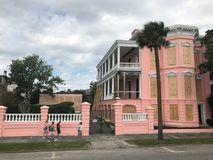 Preparation for Hurricane Irma. Homeowners in downtown Charleston take precautions to their homes from from strong winds of Hurricane Irma Stock Images
