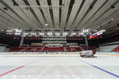 Preparation of ice for closing ceremony Royalty Free Stock Image