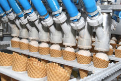 Preparation of ice-cream. On factory Stock Photo