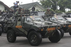 Preparation of Indonesian National Army in the city of Solo, Central Java Security Stock Images