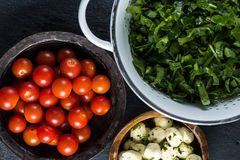 Preparation ingredients for italian salad Royalty Free Stock Photos
