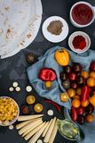 Preparation of ingredients for mexican quesadilla. royalty free stock photo