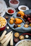 Preparation of ingredients for mexican vegan quesadilla. stock image