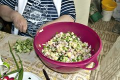 Preparation of ingredients for salad, cutting cucumbers. Visible hands of the chief Royalty Free Stock Photos