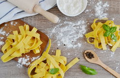 Preparation Italian Raw Homemade Pasta Tagliatelle Cooking Royalty Free Stock Images