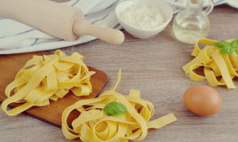 Preparation Italian Raw Homemade Pasta Tagliatelle Cooking Royalty Free Stock Photos