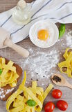 Preparation Italian Raw Homemade Pasta Tagliatelle Cooking Stock Images
