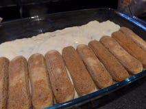 Preparation of Italian tiramisu dessert stock photo