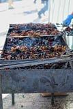Preparation of kebab (shashlik) on brazier on street Stock Image