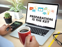 PREPARATION IS THE KEY plan BE PREPARED concept just prepare to. Perform Royalty Free Stock Photos
