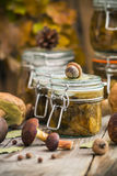 Preparation kitchen mushrooms marinated jars wooden table Stock Images