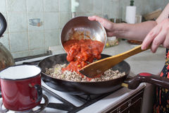 Preparation of lasagne. Royalty Free Stock Photo