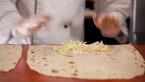 Preparation of lavash to shawarma.  stock video
