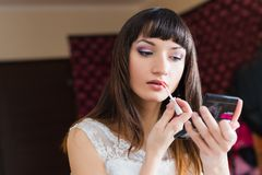 Preparation and makeup beautiful bride Royalty Free Stock Photo