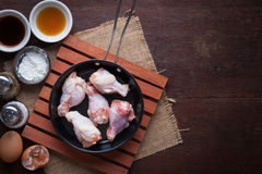 Preparation for making deep fried chicken wings Royalty Free Stock Photo