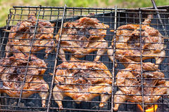 Preparation of marinated quail on the grill Royalty Free Stock Photos