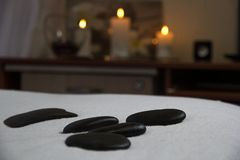Black stones for massage royalty free stock images