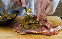 Preparation of a meat dish Stock Photography