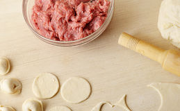 Preparation of meat dumplings - minced meat royalty free stock image