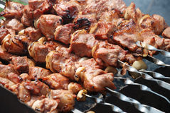 Preparation of meat on fire Royalty Free Stock Images