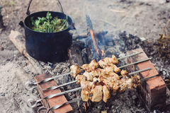 Preparation of meat slices in sauce on fire Royalty Free Stock Image