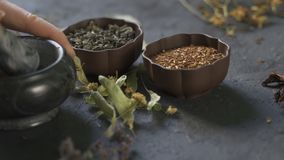 Preparation of medicinal herbs for use. Medicinal plants on the table. Woman rubs medicinal plants in a mortar